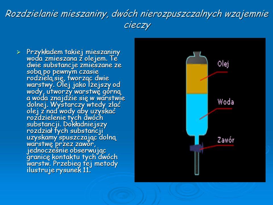 Rozdzielanie mieszaniny, dwóch nierozpuszczalnych wzajemnie cieczy Przykładem takiej mieszaniny woda zmieszana z olejem. Te dwie substancje zmieszane