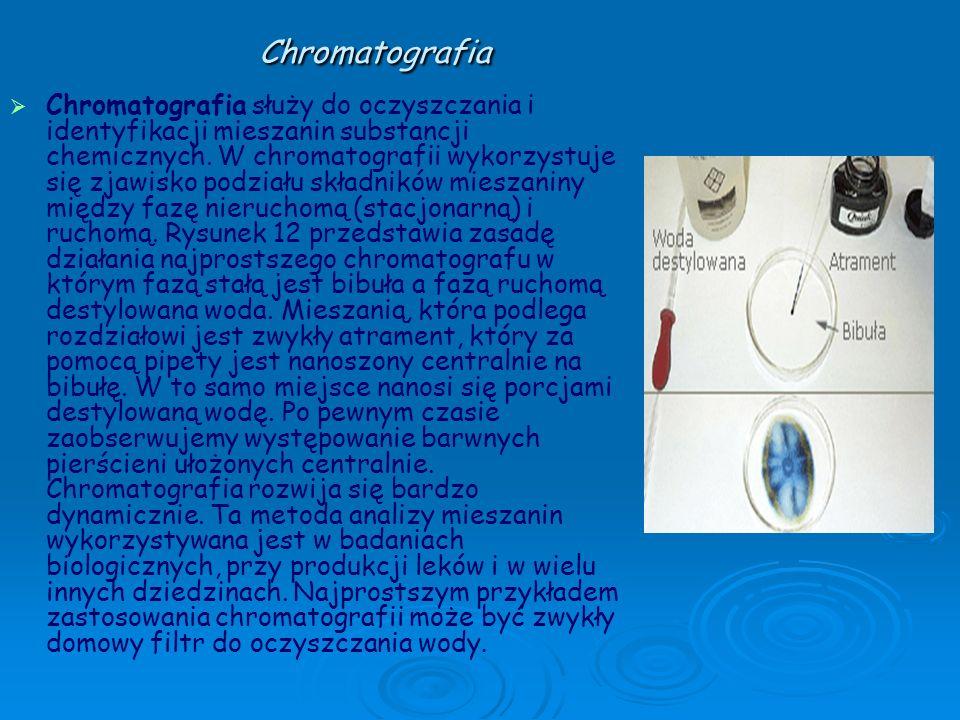 Chromatografia Chromatografia służy do oczyszczania i identyfikacji mieszanin substancji chemicznych. W chromatografii wykorzystuje się zjawisko podzi