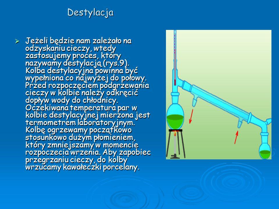 Destylacja Jeżeli będzie nam zależało na odzyskaniu cieczy, wtedy zastosujemy proces, który nazywamy destylacją (rys.9). Kolba destylacyjna powinna by