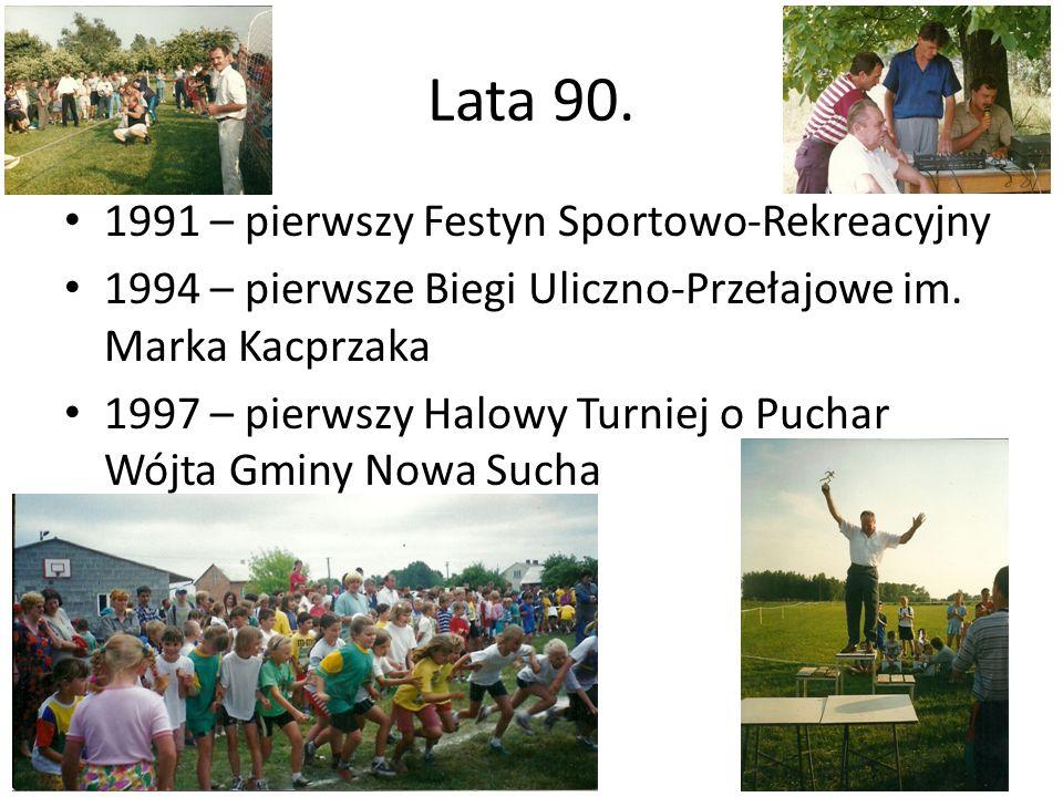 Lata 90. 1991 – pierwszy Festyn Sportowo-Rekreacyjny 1994 – pierwsze Biegi Uliczno-Przełajowe im. Marka Kacprzaka 1997 – pierwszy Halowy Turniej o Puc