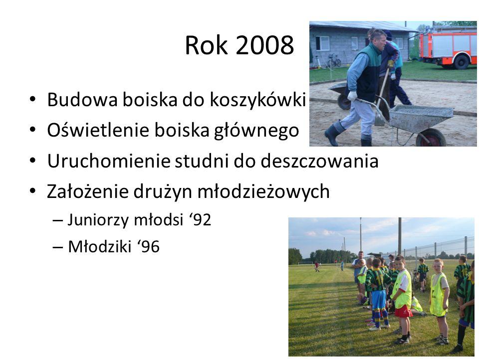 Rok 2008 Budowa boiska do koszykówki Oświetlenie boiska głównego Uruchomienie studni do deszczowania Założenie drużyn młodzieżowych – Juniorzy młodsi