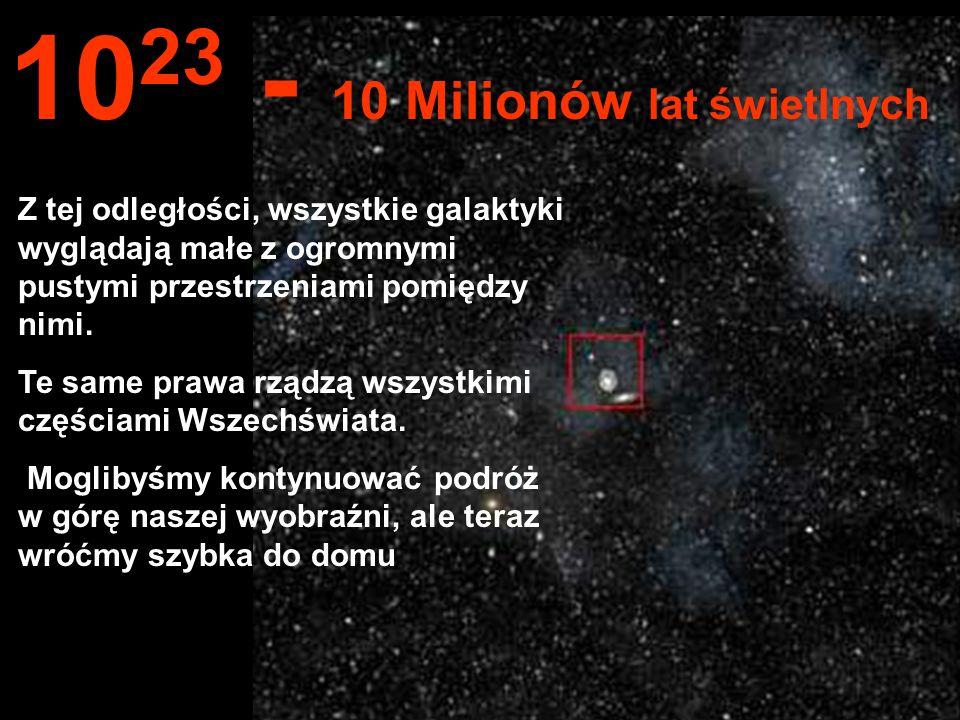 Z tej ogromnej odległości widzimy całą Drogę Mleczną (Milky Way) i inne galaktyki... 10 22 1 Milion lat świetlnych