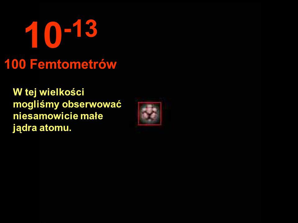 Ogromna przestrzeń między jądrem a orbitą elektronów... 10 -12 1 Pikometr