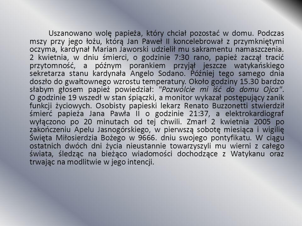 Uszanowano wolę papieża, który chciał pozostać w domu. Podczas mszy przy jego łożu, którą Jan Paweł II koncelebrował z przymkniętymi oczyma, kardynał