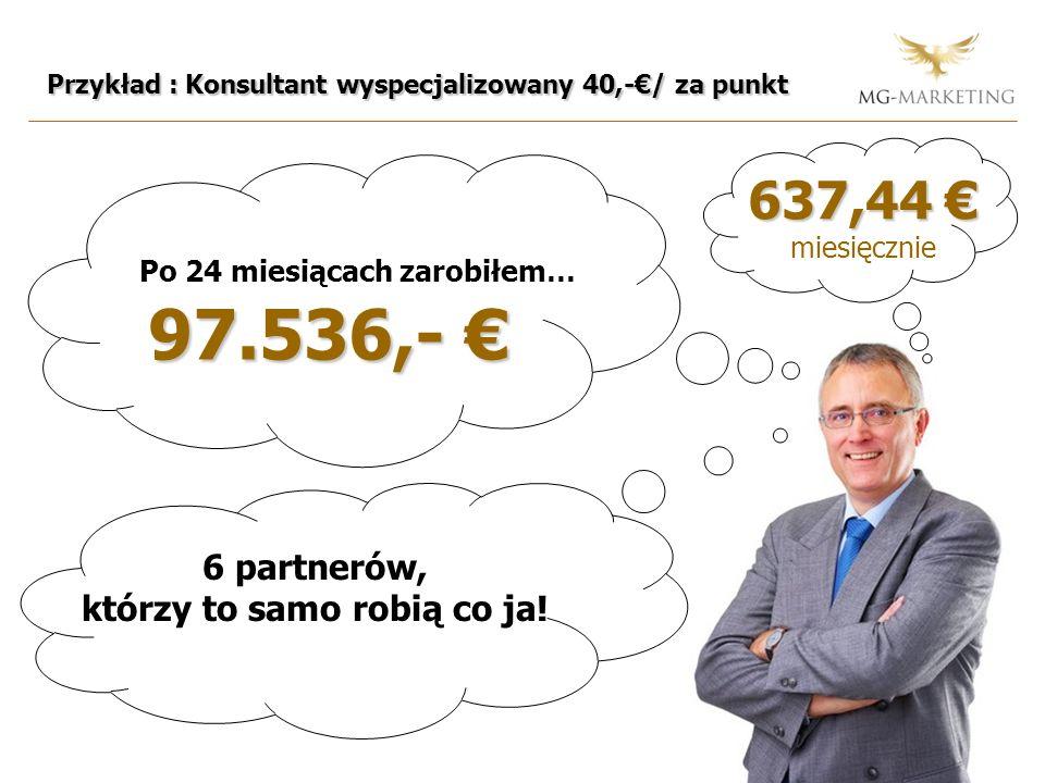 Przykład : Konsultant wyspecjalizowany 40,-/ za punkt Po 24 miesiącach zarobiłem… 97.536,- 97.536,- 637,44 637,44 miesięcznie 6 partnerów, którzy to samo robią co ja!