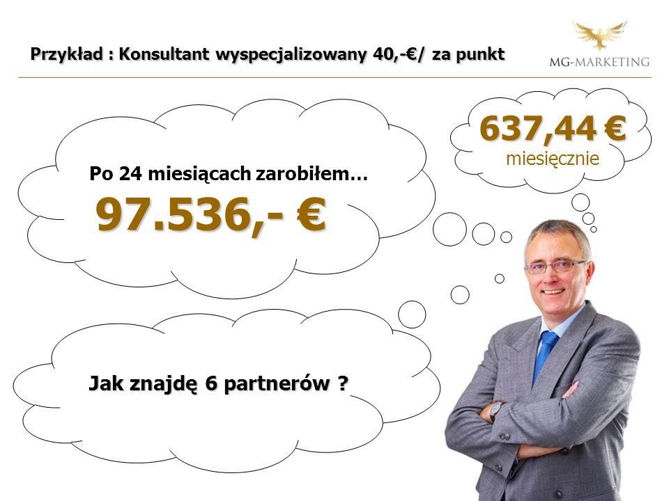 Przykład : Konsultant wyspecjalizowany 40,-/ za punkt Po 24 miesiącach zarobiłem… 97.536,- 97.536,- 637,44 637,44 miesięcznie Jak znajdę 6 partnerów