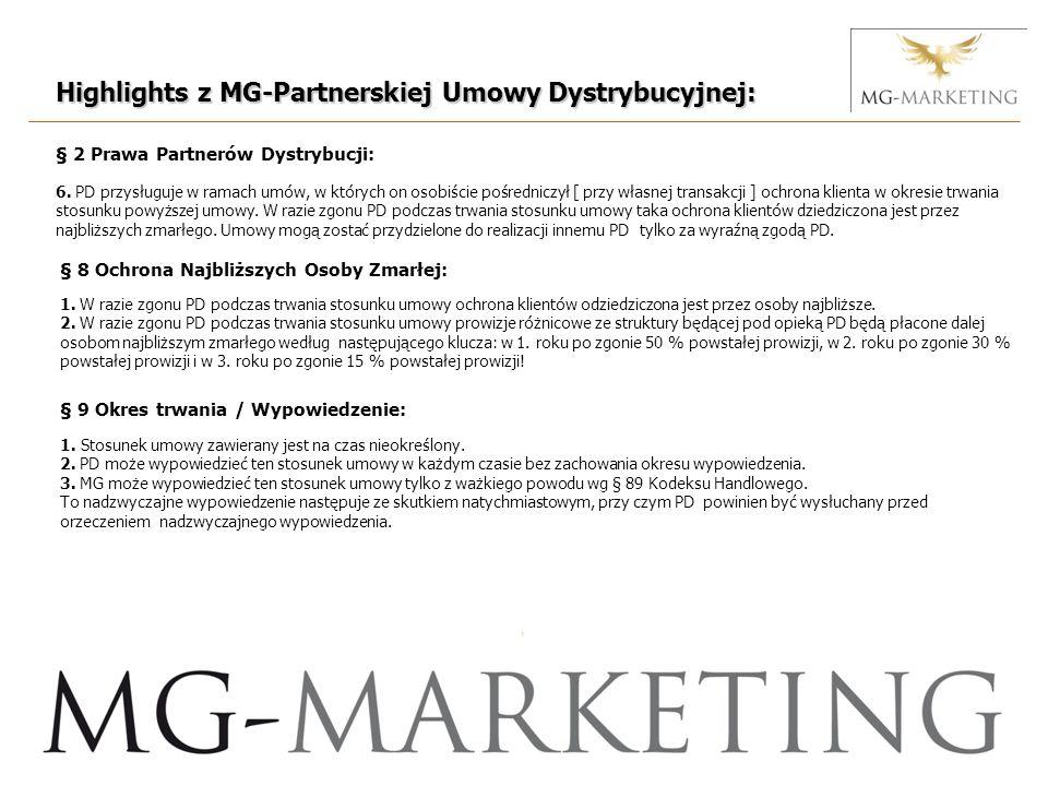 Highlights z MG-Partnerskiej Umowy Dystrybucyjnej: § 2 Prawa Partnerów Dystrybucji: 6.