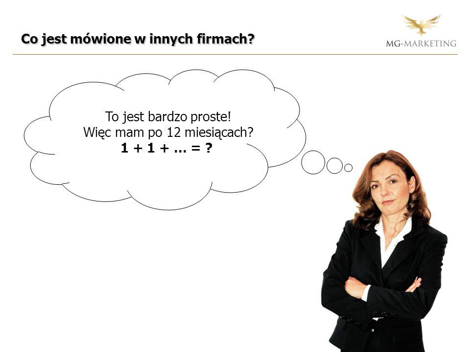 Co jest mówione w innych firmach? To jest bardzo proste! Więc mam po 12 miesiącach? 1 + 1 + … = ?