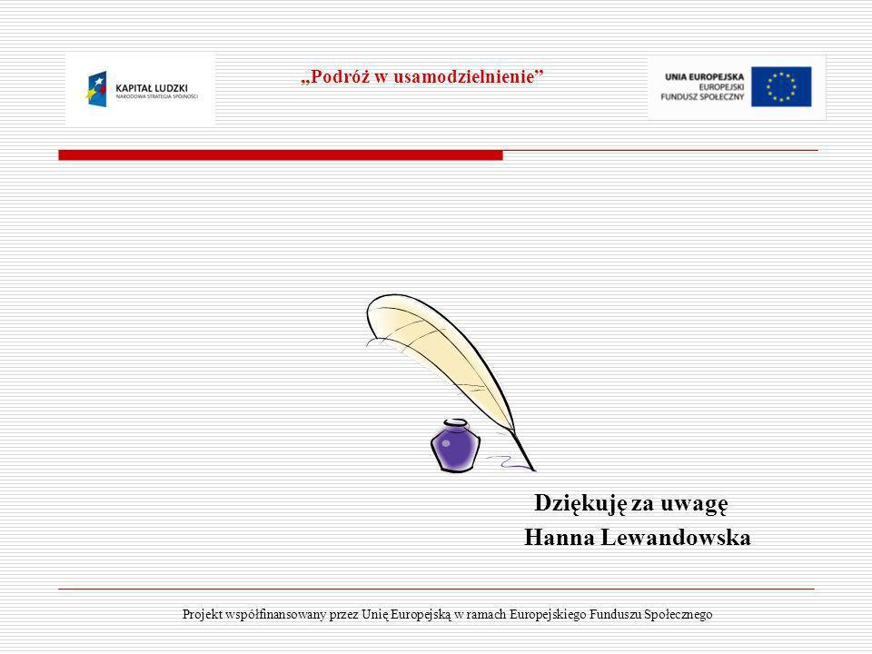 Dziękuję za uwagę Hanna Lewandowska Projekt współfinansowany przez Unię Europejską w ramach Europejskiego Funduszu Społecznego