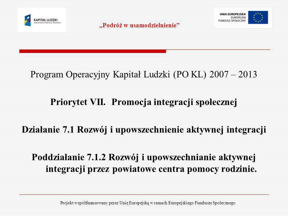 Program Operacyjny Kapitał Ludzki (PO KL) 2007 – 2013 Priorytet VII. Promocja integracji społecznej Działanie 7.1 Rozwój i upowszechnienie aktywnej in