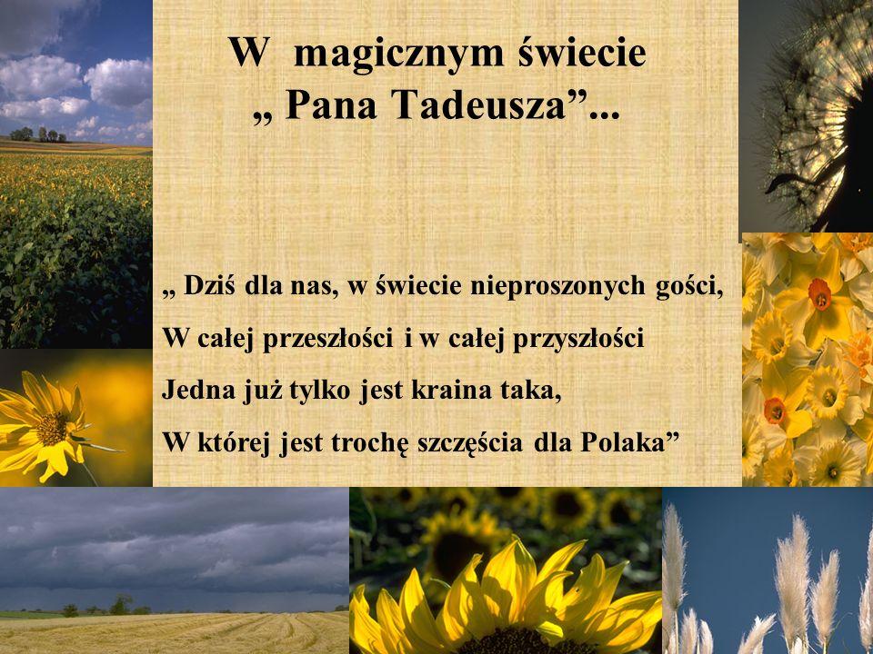 W magicznym świecie Pana Tadeusza... Dziś dla nas, w świecie nieproszonych gości, W całej przeszłości i w całej przyszłości Jedna już tylko jest krain