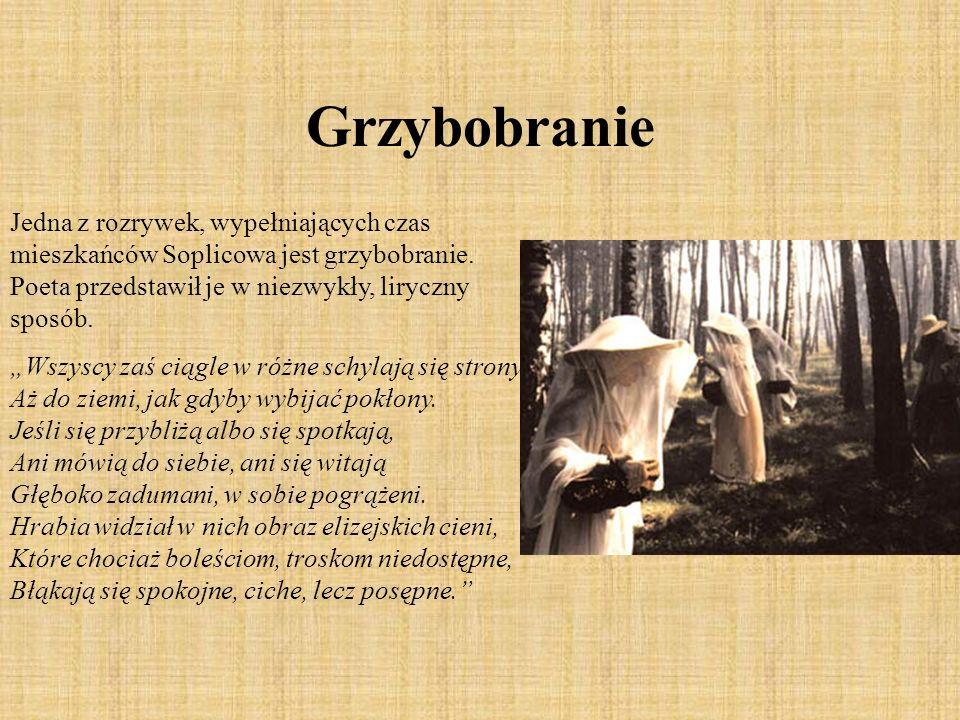 Grzybobranie Jedna z rozrywek, wypełniających czas mieszkańców Soplicowa jest grzybobranie. Poeta przedstawił je w niezwykły, liryczny sposób. Wszyscy