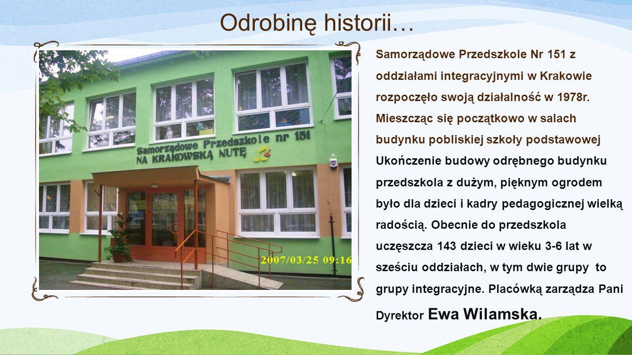 Samorządowe Przedszkole Nr 151 z oddziałami integracyjnymi w Krakowie rozpoczęło swoją działalność w 1978r. Mieszcząc się początkowo w salach budynku