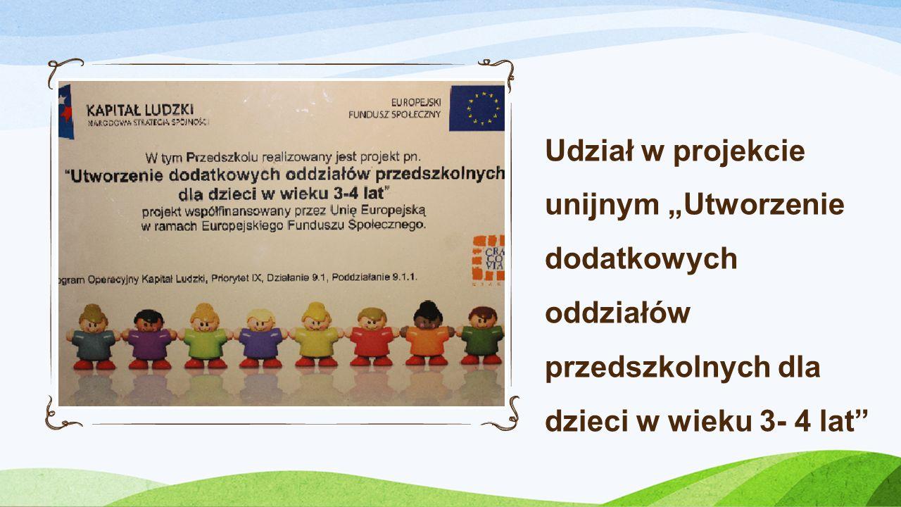 Udział w projekcie unijnym Utworzenie dodatkowych oddziałów przedszkolnych dla dzieci w wieku 3- 4 lat