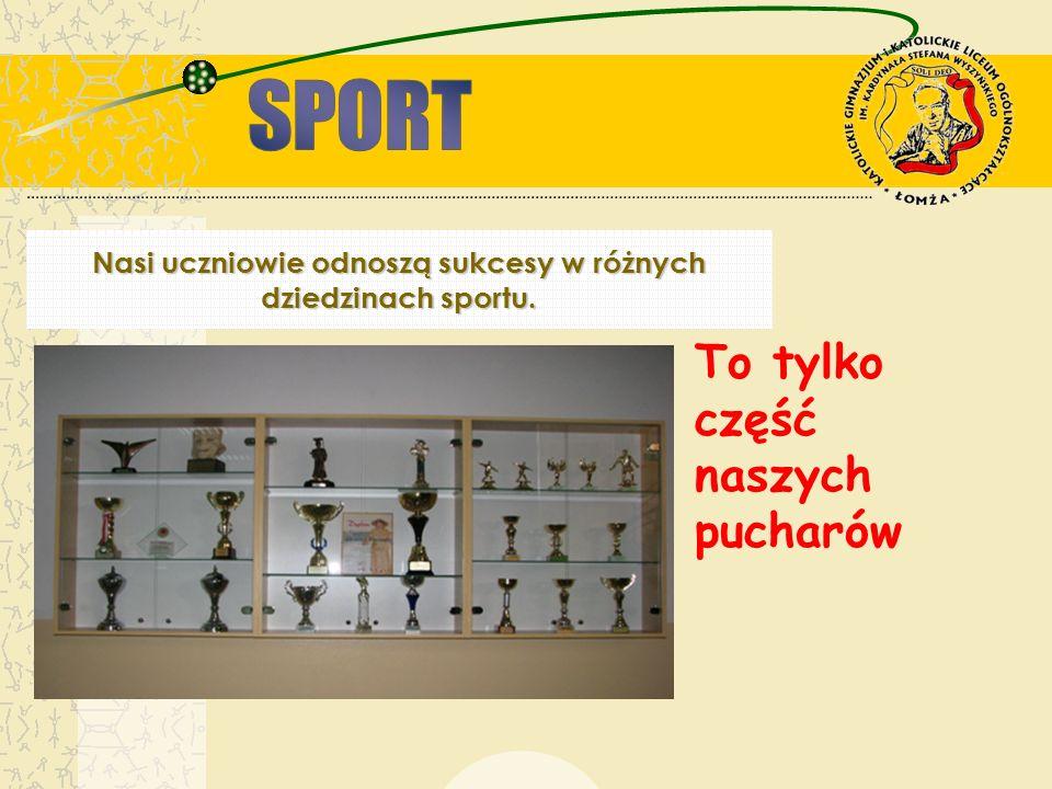 Nasi uczniowie odnoszą sukcesy w różnych dziedzinach sportu. To tylko część naszych pucharów