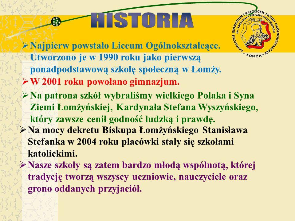Najpierw powstało Liceum Ogólnokształcące. Utworzono je w 1990 roku jako pierwszą ponadpodstawową szkołę społeczną w Łomży. W 2001 roku powołano gimna
