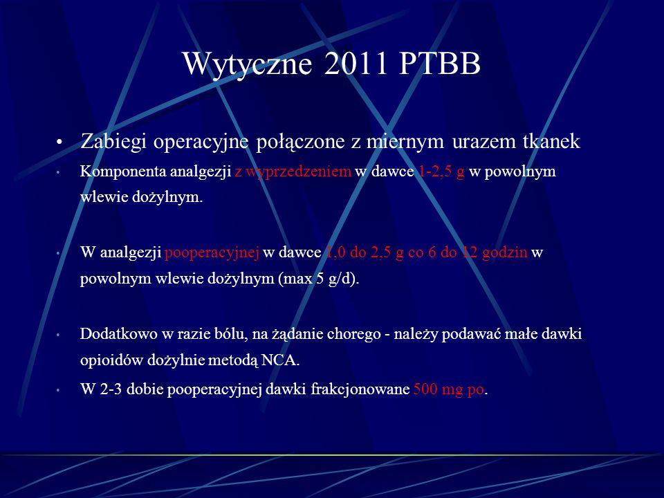 Wytyczne 2011 PTBB Zabiegi operacyjne połączone z miernym urazem tkanek Komponenta analgezji z wyprzedzeniem w dawce 1-2,5 g w powolnym wlewie dożylny