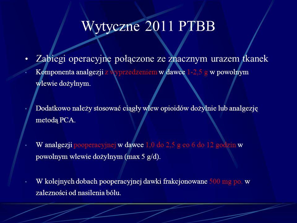 Wytyczne 2011 PTBB Zabiegi operacyjne połączone ze znacznym urazem tkanek Komponenta analgezji z wyprzedzeniem w dawce 1-2,5 g w powolnym wlewie dożyl