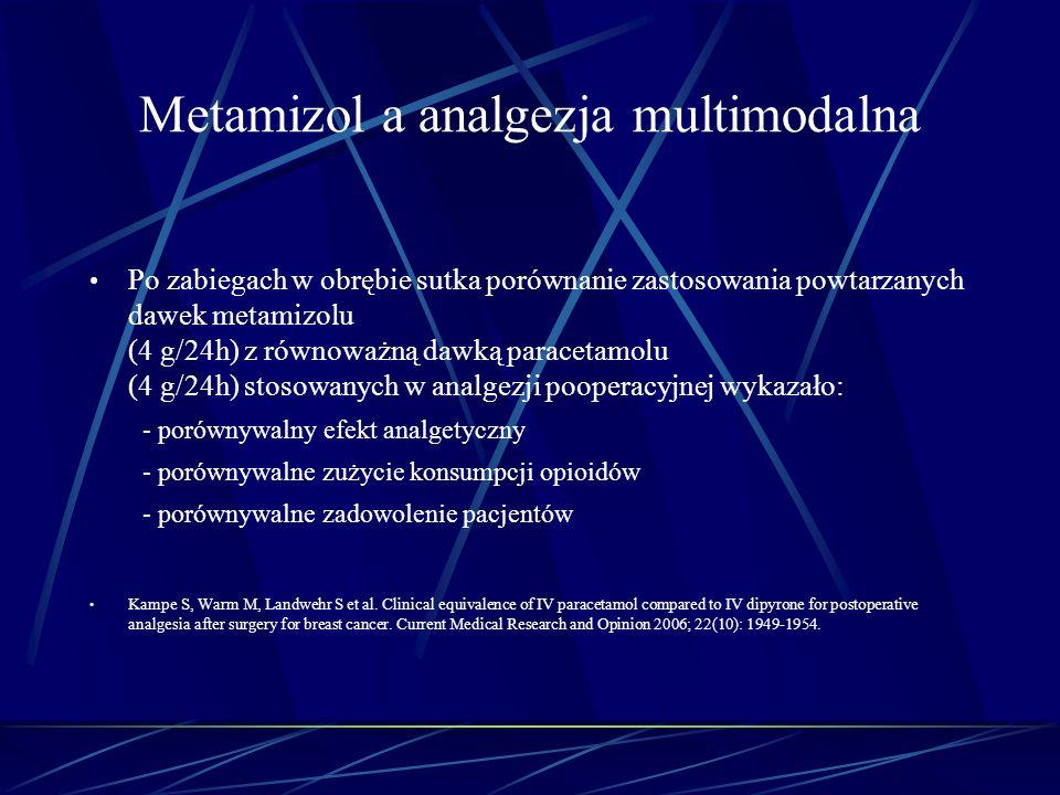 Metamizol a analgezja multimodalna Po zabiegach w obrębie sutka porównanie zastosowania powtarzanych dawek metamizolu (4 g/24h) z równoważną dawką par
