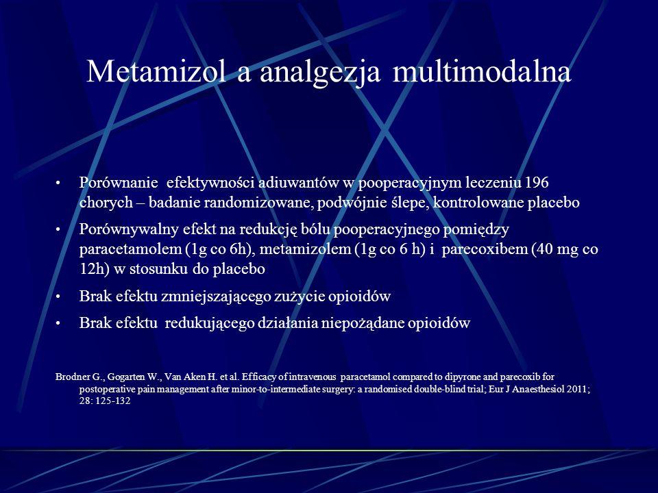Metamizol a analgezja multimodalna Porównanie efektywności adiuwantów w pooperacyjnym leczeniu 196 chorych – badanie randomizowane, podwójnie ślepe, k