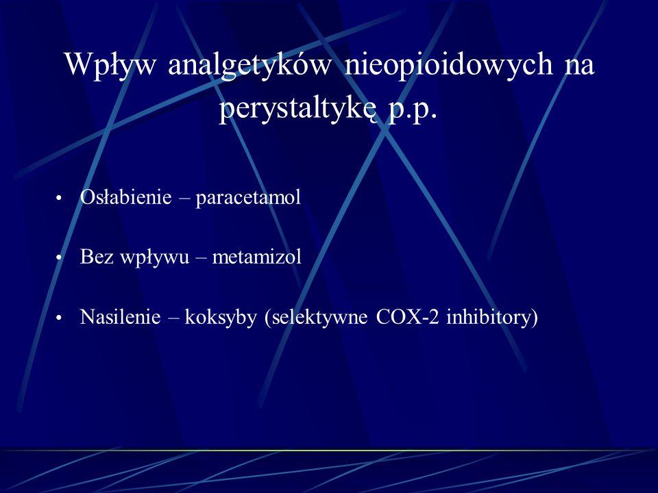 Wpływ analgetyków nieopioidowych na perystaltykę p.p. Osłabienie – paracetamol Bez wpływu – metamizol Nasilenie – koksyby (selektywne COX-2 inhibitory