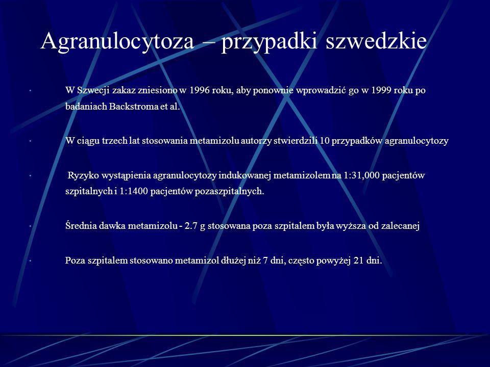 W Szwecji zakaz zniesiono w 1996 roku, aby ponownie wprowadzić go w 1999 roku po badaniach Backstroma et al. W ciągu trzech lat stosowania metamizolu