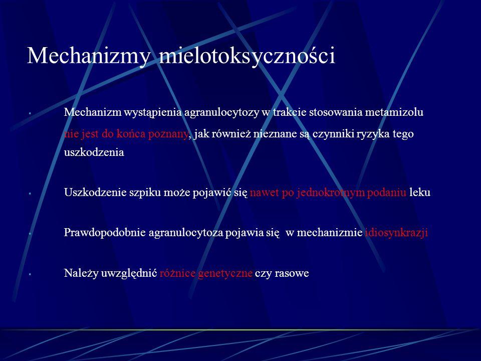 Mechanizm wystąpienia agranulocytozy w trakcie stosowania metamizolu nie jest do końca poznany, jak również nieznane są czynniki ryzyka tego uszkodzen