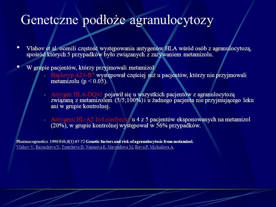 Vlahov et al. ocenili częstość występowania antygenów HLA wśród osób z agranulocytozą, spośród których 5 przypadków było związanych z zażywaniem metam