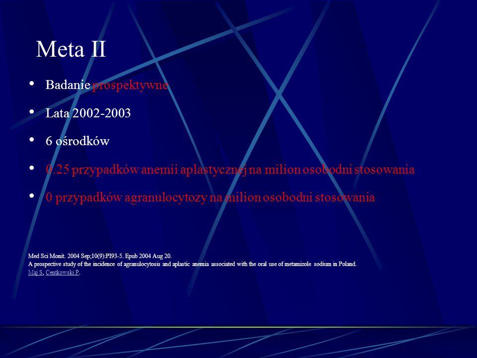 Badanie prospektywne Lata 2002-2003 6 ośrodków 0.25 przypadków anemii aplastycznej na milion osobodni stosowania 0 przypadków agranulocytozy na milion