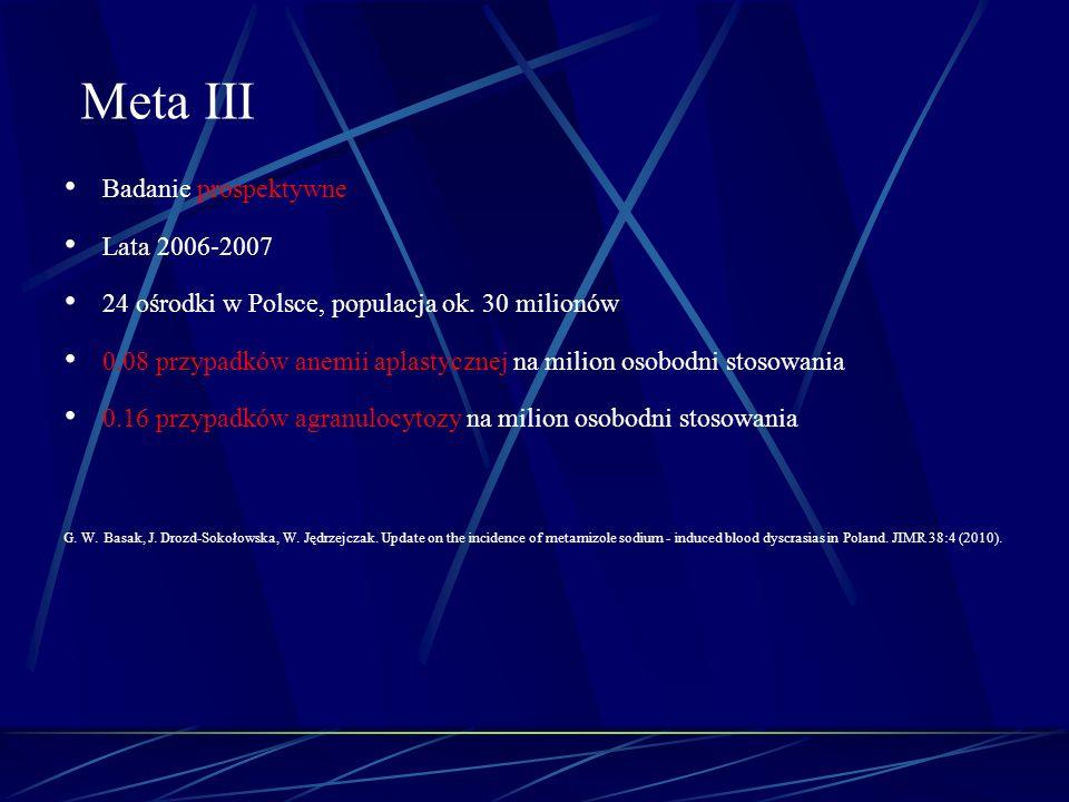 Badanie prospektywne Lata 2006-2007 24 ośrodki w Polsce, populacja ok. 30 milionów 0.08 przypadków anemii aplastycznej na milion osobodni stosowania 0