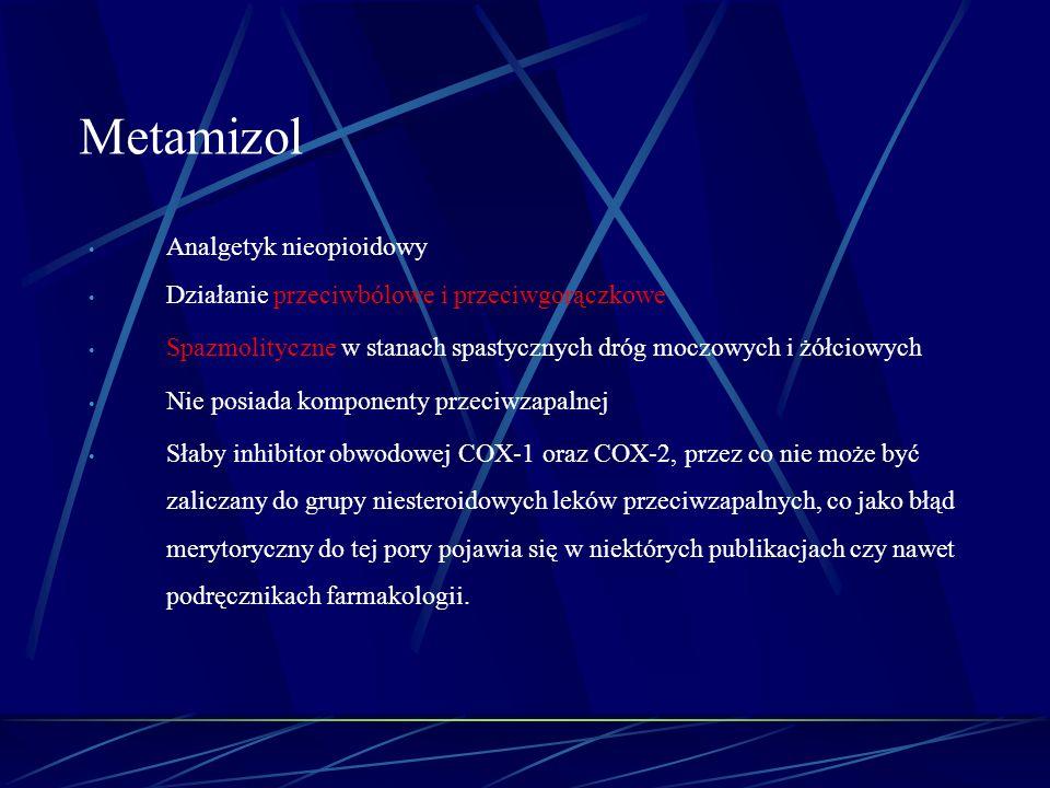 Analgetyk nieopioidowy Działanie przeciwbólowe i przeciwgorączkowe Spazmolityczne w stanach spastycznych dróg moczowych i żółciowych Nie posiada kompo