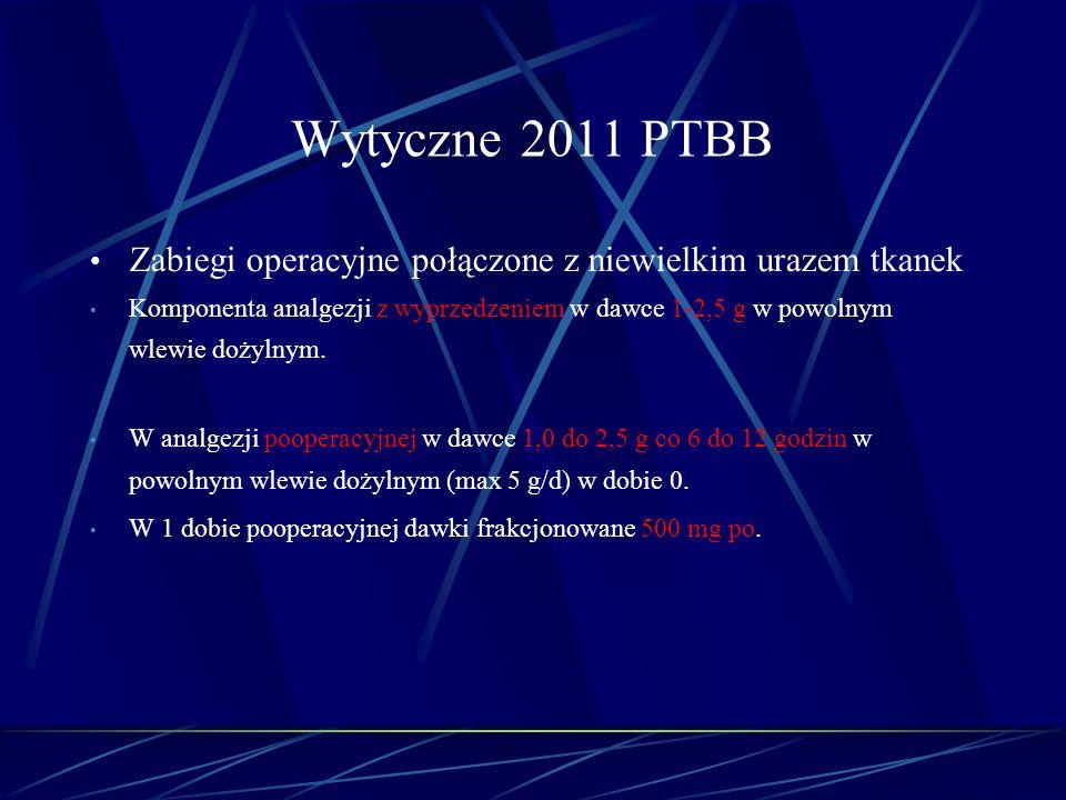 Wytyczne 2011 PTBB Zabiegi operacyjne połączone z niewielkim urazem tkanek Komponenta analgezji z wyprzedzeniem w dawce 1-2,5 g w powolnym wlewie doży
