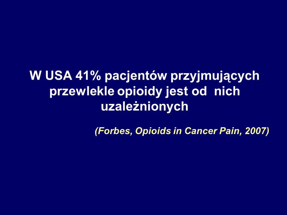 W USA 41% pacjentów przyjmujących przewlekle opioidy jest od nich uzależnionych (Forbes, Opioids in Cancer Pain, 2007)