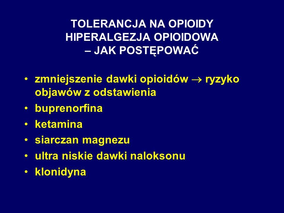 TOLERANCJA NA OPIOIDY HIPERALGEZJA OPIOIDOWA – JAK POSTĘPOWAĆ zmniejszenie dawki opioidów ryzyko objawów z odstawienia buprenorfina ketamina siarczan