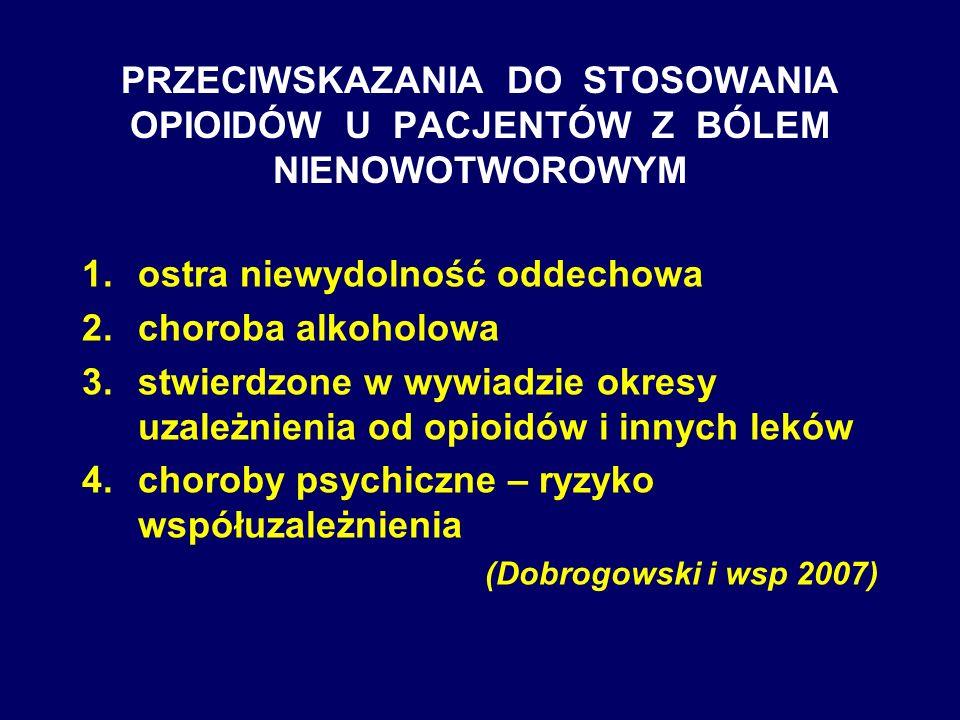 PRZECIWSKAZANIA DO STOSOWANIA OPIOIDÓW U PACJENTÓW Z BÓLEM NIENOWOTWOROWYM 1.ostra niewydolność oddechowa 2.choroba alkoholowa 3.stwierdzone w wywiadz
