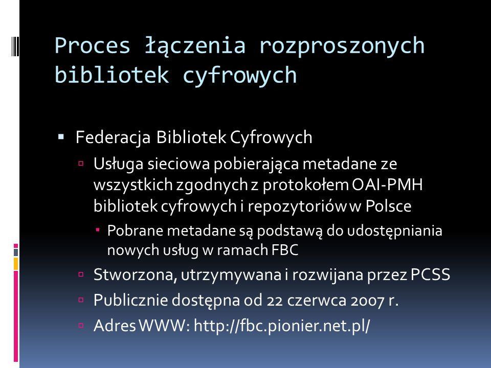 Proces łączenia rozproszonych bibliotek cyfrowych Federacja Bibliotek Cyfrowych Usługa sieciowa pobierająca metadane ze wszystkich zgodnych z protokoł