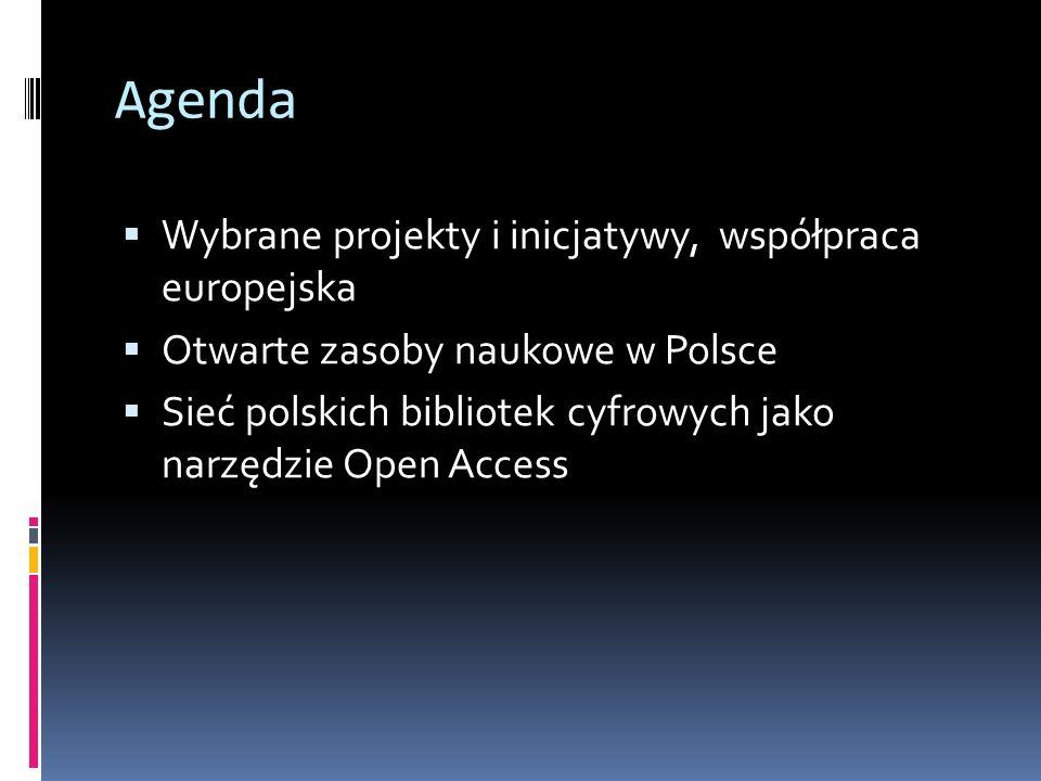 Agenda Wybrane projekty i inicjatywy, współpraca europejska Otwarte zasoby naukowe w Polsce Sieć polskich bibliotek cyfrowych jako narzędzie Open Acce