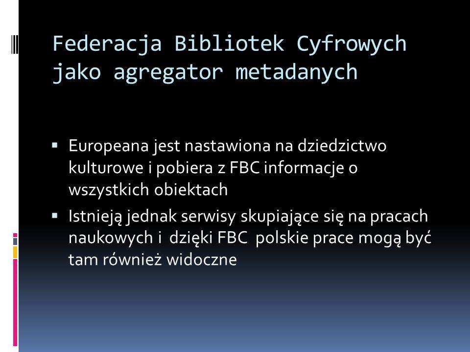 Federacja Bibliotek Cyfrowych jako agregator metadanych Europeana jest nastawiona na dziedzictwo kulturowe i pobiera z FBC informacje o wszystkich obi