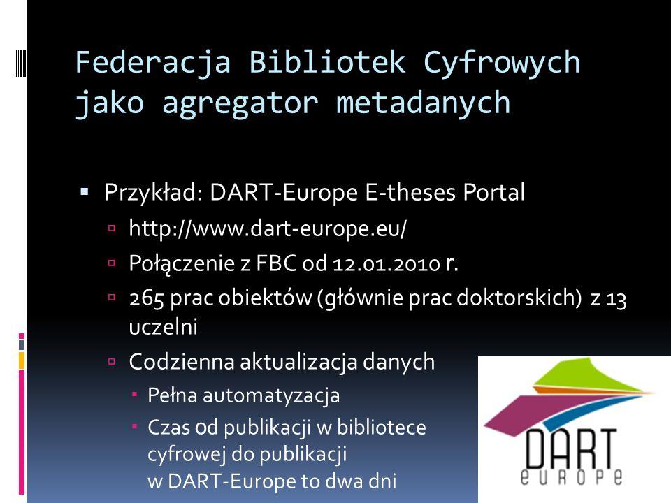 Federacja Bibliotek Cyfrowych jako agregator metadanych Przykład: DART-Europe E-theses Portal http://www.dart-europe.eu/ Połączenie z FBC od 12.01.201