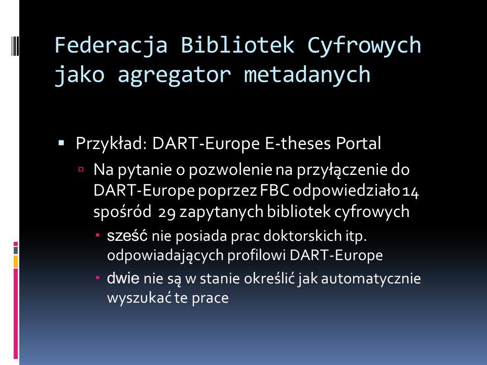 Federacja Bibliotek Cyfrowych jako agregator metadanych Przykład: DART-Europe E-theses Portal Na pytanie o pozwolenie na przyłączenie do DART-Europe p