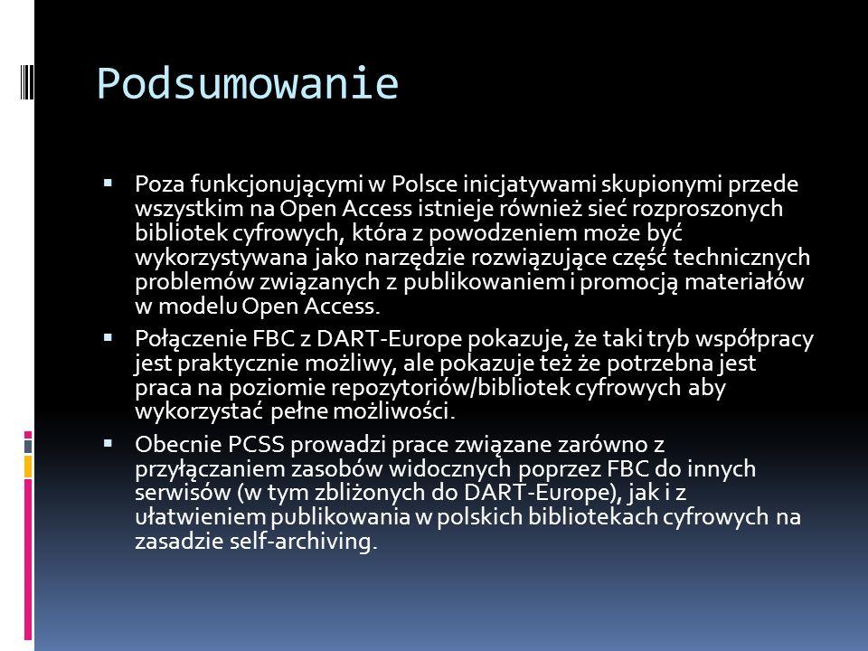 Podsumowanie Poza funkcjonującymi w Polsce inicjatywami skupionymi przede wszystkim na Open Access istnieje również sieć rozproszonych bibliotek cyfro