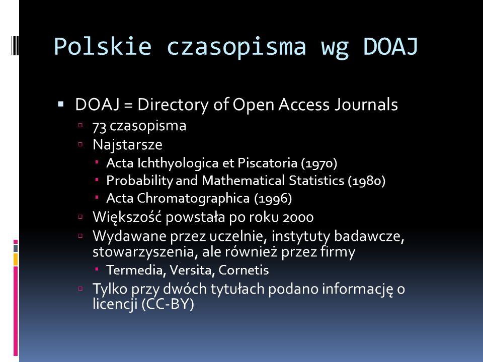 Polskie czasopisma wg DOAJ DOAJ = Directory of Open Access Journals 73 czasopisma Najstarsze Acta Ichthyologica et Piscatoria (1970) Probability and M