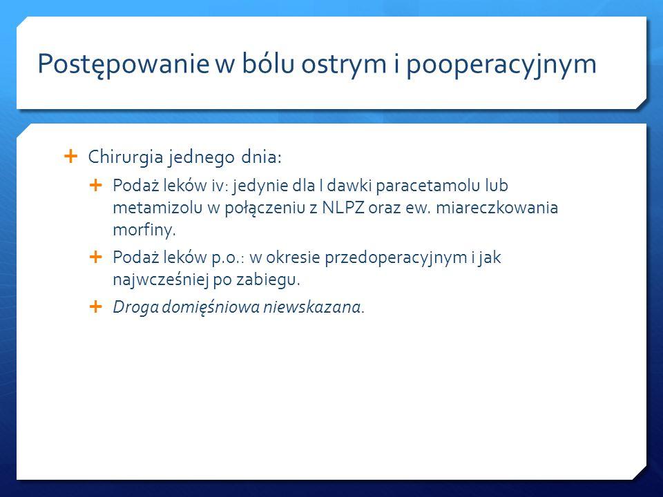 Chirurgia jednego dnia: Podaż leków iv: jedynie dla I dawki paracetamolu lub metamizolu w połączeniu z NLPZ oraz ew. miareczkowania morfiny. Podaż lek