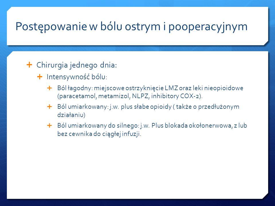 Chirurgia jednego dnia: Intensywność bólu: Ból łagodny: miejscowe ostrzyknięcie LMZ oraz leki nieopioidowe (paracetamol, metamizol, NLPZ, inhibitory C