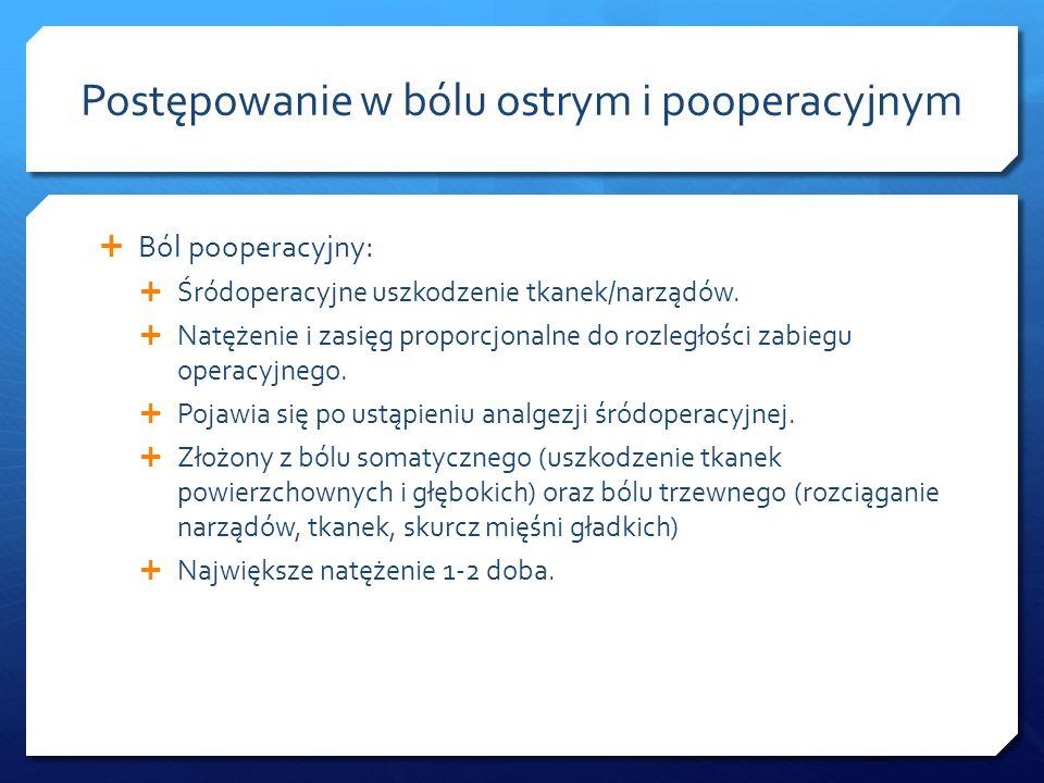 Ból pooperacyjny: Śródoperacyjne uszkodzenie tkanek/narządów. Natężenie i zasięg proporcjonalne do rozległości zabiegu operacyjnego. Pojawia się po us