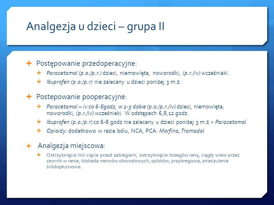 Analgezja u dzieci – grupa II Postępowanie przedoperacyjne: Paracetamol (p.o./p.r.) dzieci, niemowlęta, noworodki, (p.r./iv) wcześniaki. Ibuprofen (p.