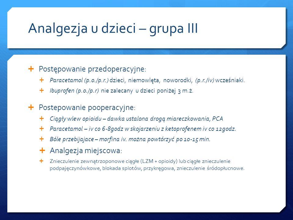 Analgezja u dzieci – grupa III Postępowanie przedoperacyjne: Paracetamol (p.o./p.r.) dzieci, niemowlęta, noworodki, (p.r./iv) wcześniaki. Ibuprofen (p