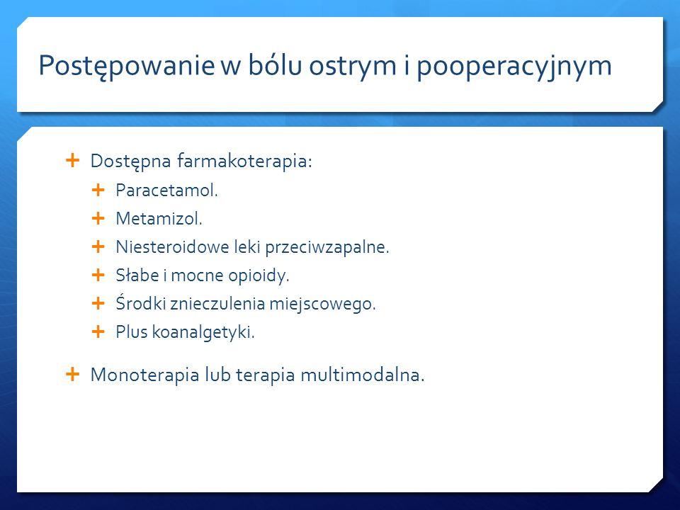 Dostępna farmakoterapia: Paracetamol. Metamizol. Niesteroidowe leki przeciwzapalne. Słabe i mocne opioidy. Środki znieczulenia miejscowego. Plus koana