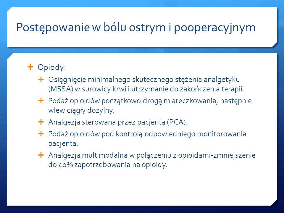 Opiody: Osiągnięcie minimalnego skutecznego stężenia analgetyku (MSSA) w surowicy krwi i utrzymanie do zakończenia terapii. Podaż opioidów początkowo