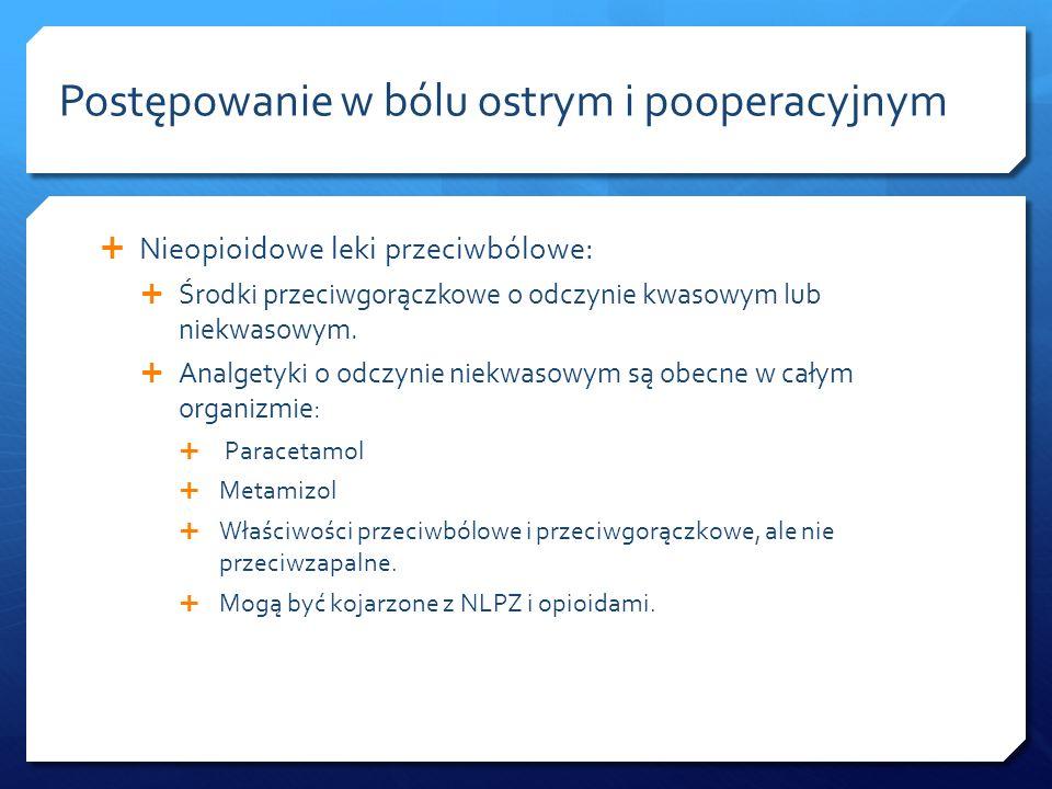 Nieopioidowe leki przeciwbólowe: Środki przeciwgorączkowe o odczynie kwasowym lub niekwasowym. Analgetyki o odczynie niekwasowym są obecne w całym org